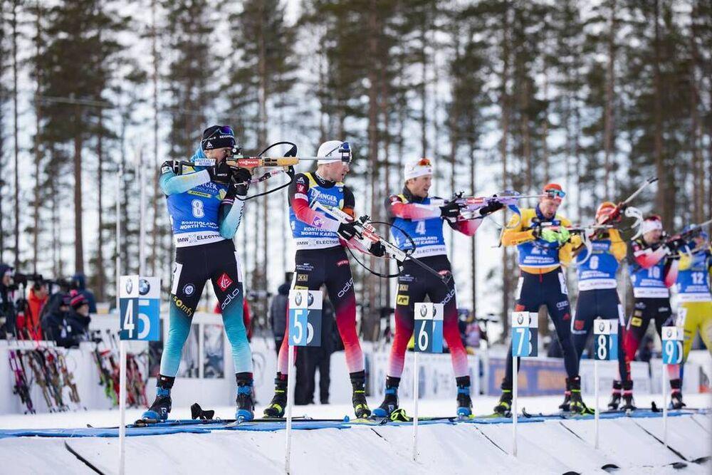 14.03.2020, Kontiolahti, Finland (FIN):Simon Desthieux (FRA), Tarjei Boe (NOR), Vetle Sjaastad Christiansen (NOR), (l-r) -  IBU world cup biathlon, pursuit men, Kontiolahti (FIN). www.nordicfocus.com. © Manzoni/NordicFocus. Every downloaded picture is f