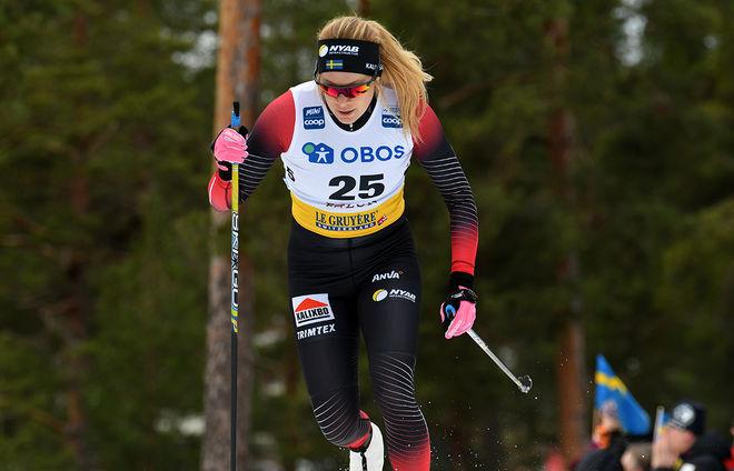 JENNIE ÖBERG – här i världscupen i Falun i vintras – smittades med Corona och fick syrgas på sjukhuset utanför Luleå. Foto/rights: ROLF ZETTERBERG/kekstock.com