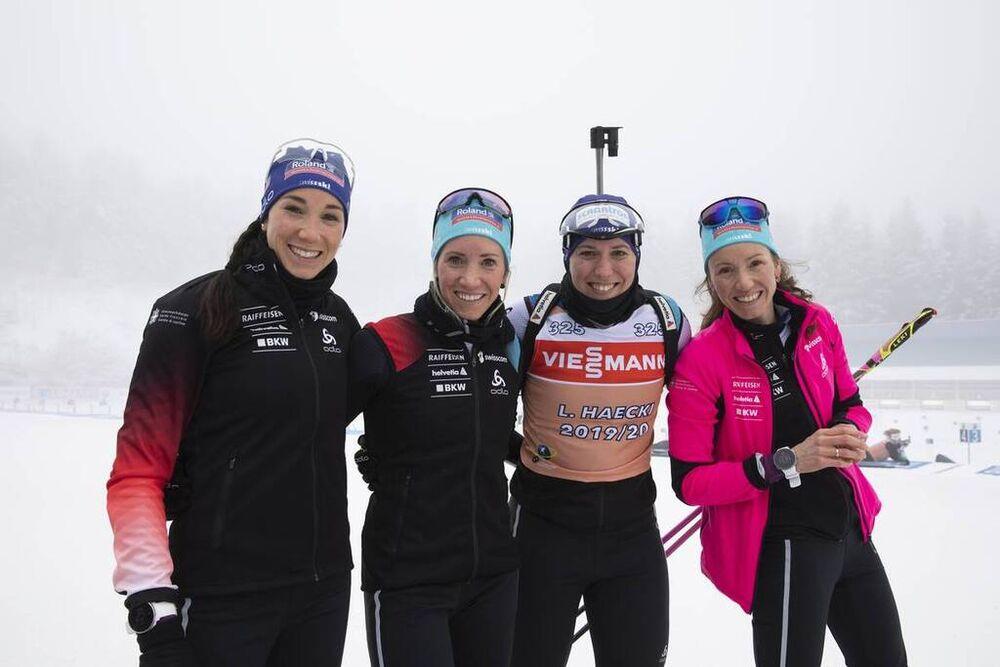 07.01.2020, Oberhof, Germany (GER):Aita Gasparin (SUI), Elisa Gasparin (SUI), Lena Haecki (SUI), Selina Gasparin (SUI), (l-r) -  IBU world cup biathlon, training, Oberhof (GER). www.nordicfocus.com. © Manzoni/NordicFocus. Every downloaded picture is fee