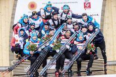 01.03.2019, Seefeld, Austria (AUT):Adrien Backscheider ((FRA)), Maurice Manificat ((FRA)), Clement Parisse ((FRA)), Richard Jouve ((FRA)), (l-r)  - FIS nordic world ski championships, cross-country, 4x10km men, Seefeld (AUT). www.nordicfocus.com. © Modi