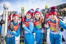 28.02.2019, Seefeld, Austria (AUT):Yulia Belorukova (RUS), Anastasia Sedova (RUS), Anna Nechaevskaya (RUS), Natalia Nepryaeva (RUS), (l-r)  - FIS nordic world ski championships, cross-country, 4x5km women, Seefeld (AUT). www.nordicfocus.com. © Modica/No