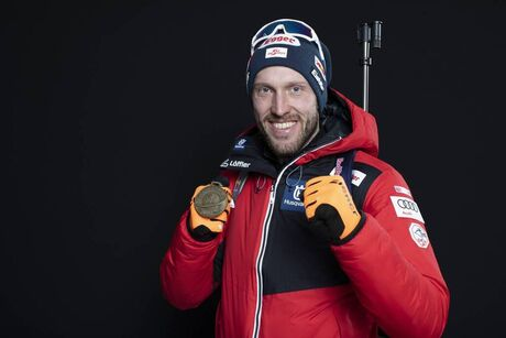 19.02.2020, Antholz, Italy (ITA):Dominik Landertinger (AUT) - IBU World Championships Biathlon, medals, Antholz (ITA). www.nordicfocus.com. © Manzoni/NordicFocus. Every downloaded picture is fee-liable.