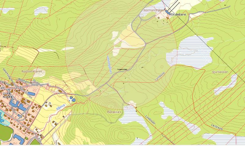 Kart over Toppenveien