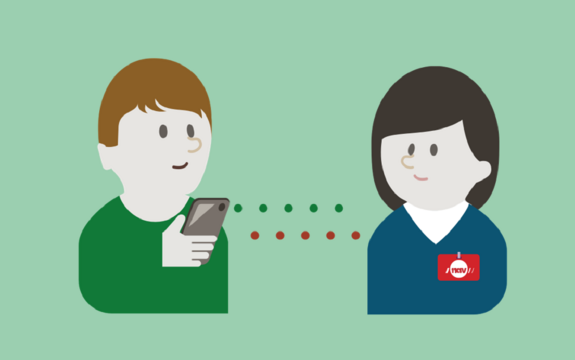 Illustrasjon som viser en som skal søke om sosialhjelp fra mobilen.