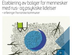 Utdrag fra forsiden av SINTEF-rapporten «Etablering av boliger for mennesker med rus- og psykiske lidelser - erfaringer fra norske kommuner». Illustrasjon: Barbro Marie Tiller