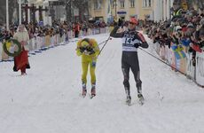 01.03.2020, Mora, Sweden (SWE):  Stian Hoelgaard (NOR), Petter Eliassen (NOR), (l-r) - Visma Ski Classics and FIS Marathon Cup Vasaloppet, Mora (SWE). www.nordicfocus.com. © Schmidt/NordicFocus. Every downloaded picture is fee-liable.