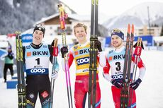 14.12.2019, Davos, Switzerland (SUI):Lucas Chanavat (FRA), Johannes Hoesflot Klaebo (NOR), Haavard Solaas Taugboel (NOR), (l-r)  - FIS world cup cross-country, individual sprint, Davos (SUI). www.nordicfocus.com. © Modica/NordicFocus. Every downloaded p