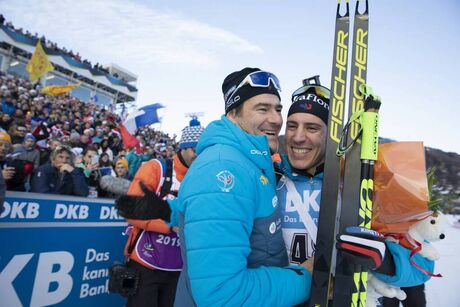 19.12.2019, Annecy-Le Grand Bornand, France (FRA):Patrick Favre (ITA), coach of team France, Quentin Fillon Maillet (FRA), (l-r) -  IBU world cup biathlon, sprint men, Annecy-Le Grand Bornand (FRA). www.nordicfocus.com. © Manzoni/NordicFocus. Every down