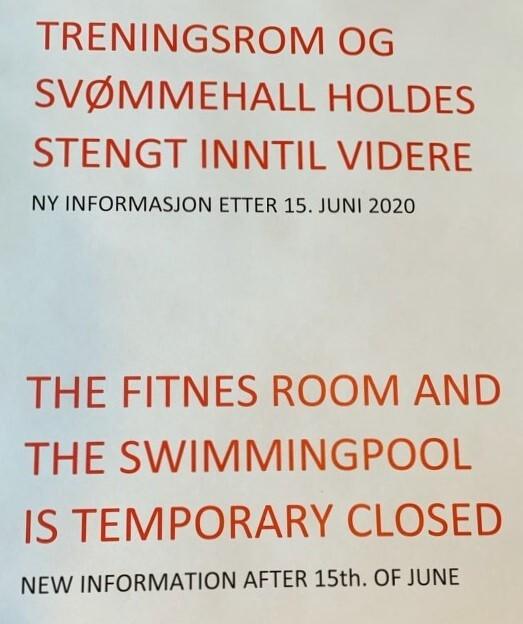 Treningsrom og svømmehall stengt