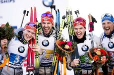 22.02.2020, Antholz, Italy (ITA):Benedikt Doll (GER), Arnd Peiffer (GER), Philipp Horn (GER), Erik Lesser (GER), (l-r) - IBU World Championships Biathlon, relay men, Antholz (ITA). www.nordicfocus.com. © Modica/NordicFocus. Every downloaded picture is f