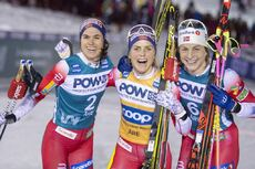 18.02.2020, Are, Sweden (SWE):Heidi Weng (NOR), Therese Johaug (NOR), Astrid Uhrenholdt Jacobsen (NOR), (l-r)  - FIS world cup cross-country, individual sprint, Are (SWE). www.nordicfocus.com. © Thibaut/NordicFocus. Every downloaded picture is fee-liabl