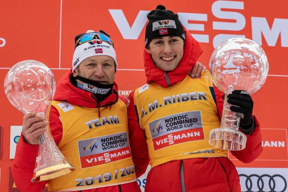 07.03.2020, Oslo, Norway (NOR):Ivar Stuan (NOR), Jarl Magnus Riiber (NOR) (l-r)  - FIS world cup nordic combined, individual gundersen HS134/10km, Oslo (NOR). www.nordicfocus.com. © Volk/NordicFocus. Every downloaded picture is fee-liable.