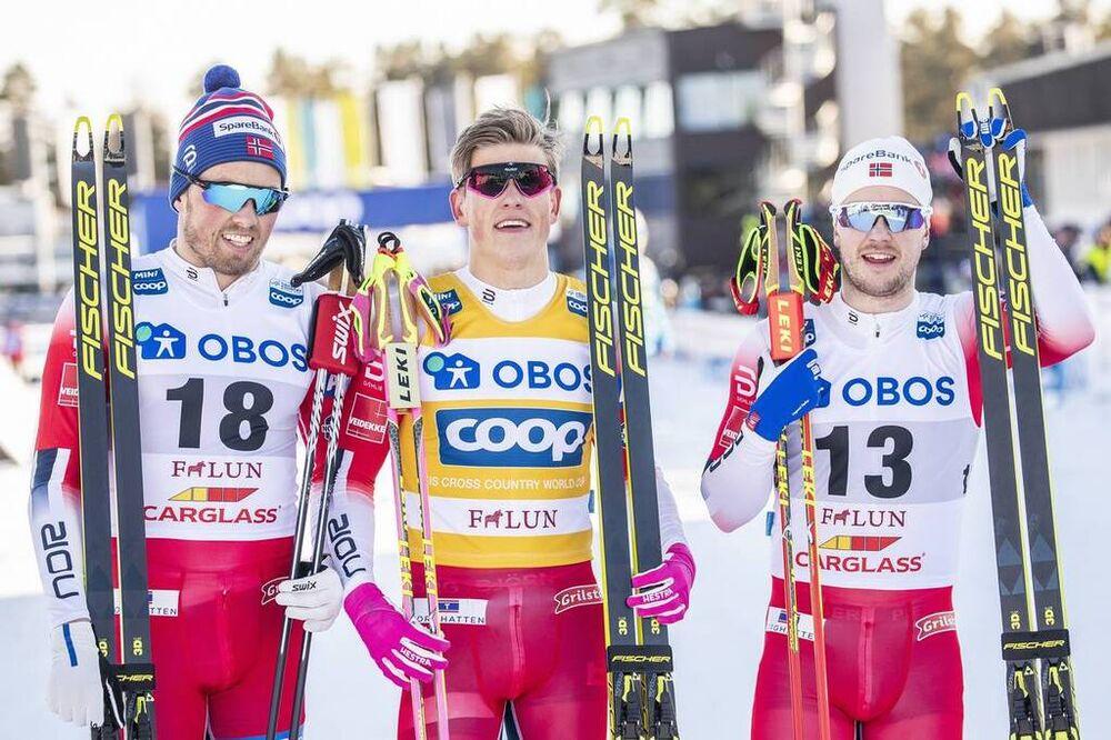 16.03.2019, Falun, Sweden (SWE):Emil Iversen (NOR), Johannes Hoesflot Klaebo (NOR), Sindre Bjoernestad Skar (NOR), (l-r)  - FIS world cup cross-country, individual sprint, Falun (SWE). www.nordicfocus.com. © Modica/NordicFocus. Every downloaded picture