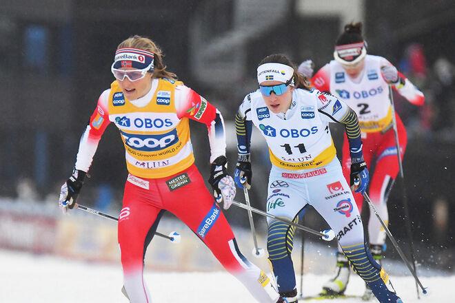 THERESE JOHAUG och Ebba Andersson lär säkert få åka världscup (om det blir något) nästa säsong, men för dom näst bästa åkarna från dom största nationerna blir det svårare. Foto/rights: ROLF ZETTERBERG/kekstock.com