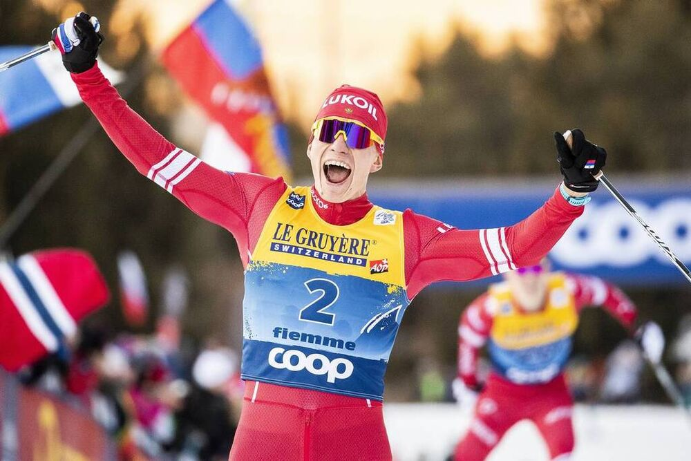 05.01.2020, Val di Fiemme, Italy (ITA):Alexander Bolshunov (RUS) - FIS world cup cross-country, tour de ski, final climb men, Val di Fiemme (ITA). www.nordicfocus.com. © Modica/NordicFocus. Every downloaded picture is fee-liable.