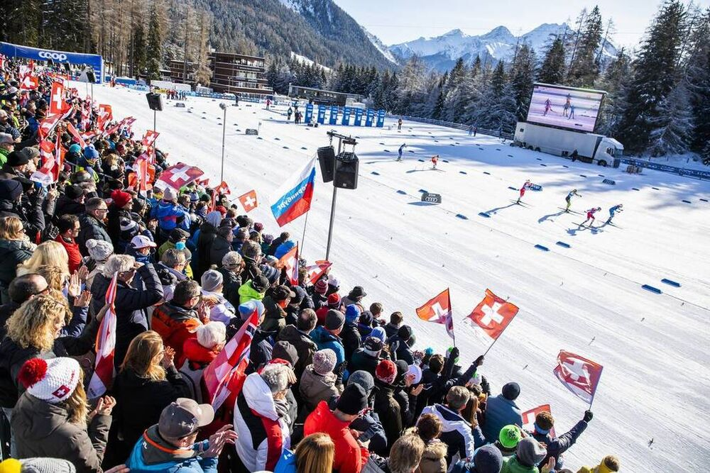 29.12.2019, Lenzerheide, Switzerland (SUI): View of the stadium  - FIS world cup cross-country, tour de ski, individual sprint, Lenzerheide (SUI). www.nordicfocus.com. © Modica/NordicFocus. Every downloaded picture is fee-liable.