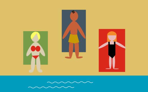 Illustrasjon med tre mennesker på stranda