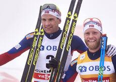 06.02.2016, Oslo, Norway (NOR):Niklas Dyrhaug (NOR), Martin Johnsrud Sundby (NOR), Maxim Vylegzhanin (RUS), (l-r)  - FIS world cup cross-country, mass men, Oslo (NOR). www.nordicfocus.com. © Felgenhauer/NordicFocus. Every downloaded picture is fee-liabl