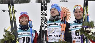 01.03.2017, Lahti, Finland (FIN):Martin Johnsrud Sundby (NOR), Iivo Niskanen (FIN), Niklas Dyrhaug (NOR), (l-r) - FIS nordic world ski championships, cross-country, 15km men, Lahti (FIN). www.nordicfocus.com. © Thibaut/NordicFocus. Every downloaded pict
