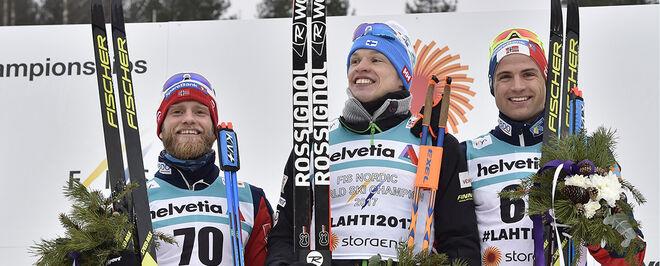 MARTIN JOHNSRUD SUNDBY (tv) och Niklas Dyrhaug var båda på pallen tillsammans med Iivo Niskanen på 15 km under VM i Lahtis 2017. Foto: NORDIC FOCUS