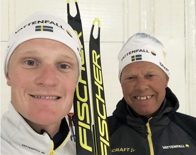JENS BURMAN är nöjd efter att ha testat Fischers skidor tillsammans med landslagets nya vallaspecialist Perry Olsson. BLIXTEN-FOTO
