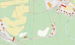 Kart over utbedring og asfaltering av veg Roalinna
