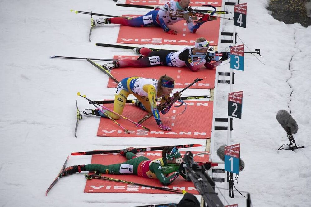 24.03.2019, Oslo, Norway (NOR):Dorothea Wierer (ITA), Hanna Oeberg (SWE), Tiril Eckhoff (NOR), (l-r) - IBU world cup biathlon, mass women, Oslo (NOR). www.nordicfocus.com. © Manzoni/NordicFocus. Every downloaded picture is fee-liable.