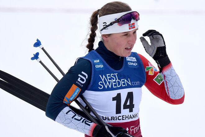 DEN TIDIGARE JUNIORVÄRLDSMÄSTARINNAN och norska sprintmästarinnan Lotta Udnes Weng har ådragit sig en fraktur i ena axeln efter en vurpa på cykel. Foto/rights: ROLF ZETTERBERG/kekstock.com