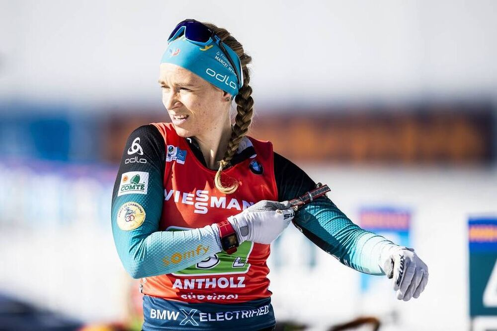 22.02.2020, Antholz, Italy (ITA):Anais Bescond (FRA) - IBU World Championships Biathlon, relay women, Antholz (ITA). www.nordicfocus.com. © Modica/NordicFocus. Every downloaded picture is fee-liable.