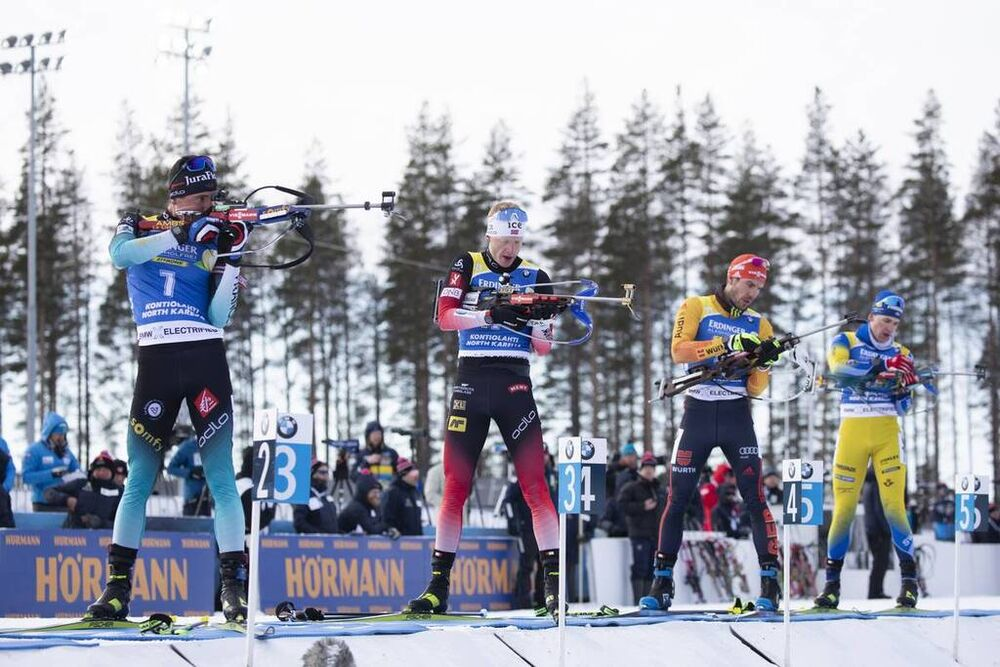 14.03.2020, Kontiolahti, Finland (FIN):Quentin Fillon Maillet (FRA), Johannes Thingnes Boe (NOR), Arnd Peiffer (GER), (l-r) -  IBU world cup biathlon, pursuit men, Kontiolahti (FIN). www.nordicfocus.com. © Manzoni/NordicFocus. Every downloaded picture i
