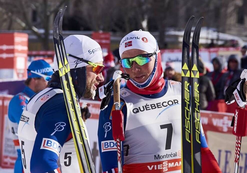 02.03.2016, Montreal, Canada (CAN):Petter Northug (NOR), Emil Iversen (NOR), (l-r)  - FIS world cup cross-country, mass men, Montreal (CAN). www.nordicfocus.com. © Felgenhauer/NordicFocus. Every downloaded picture is fee-liable.