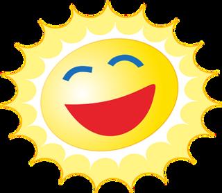 Tegning av en sol som smiler