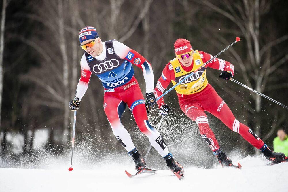 03.01.2020, Val di Fiemme, Italy (ITA):Paal Golberg (NOR), Alexander Bolshunov (RUS), (l-r)  - FIS world cup cross-country, tour de ski, mass men, Val di Fiemme (ITA). www.nordicfocus.com. © Modica/NordicFocus. Every downloaded picture is fee-liable.