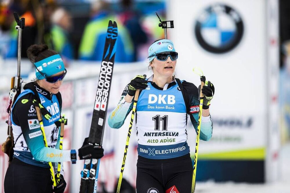 23.02.2020, Antholz, Italy (ITA):Justine Braisaz (FRA), Julia Simon (FRA), (l-r) - IBU world championships biathlon, mass women, Antholz (ITA). www.nordicfocus.com. © Modica/NordicFocus. Every downloaded picture is fee-liable.