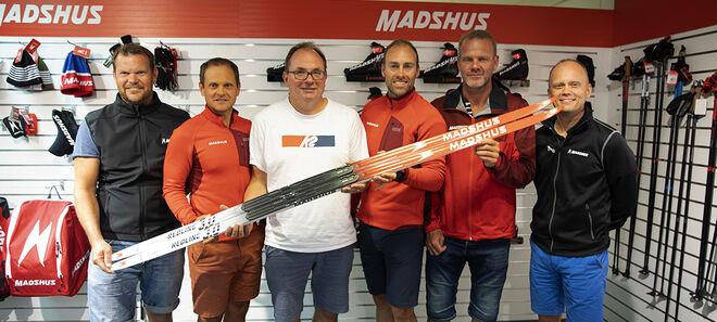 MADSHUS och Brink Coaching med läger tillsammans, fr v: Thobias Fredriksson, John Vikman, Per Wiig, Jörgen Brink, Dan Marsch och VD:n Nils Hult.