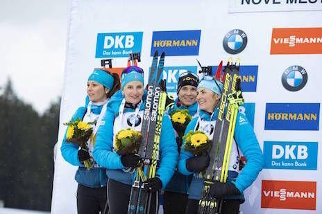 07.03.2020, Nove Mesto, Czech Republic (CZE):Chloe Chevalier (FRA), Julia Simon (FRA), Anais Bescond (FRA), Justine Braisaz (FRA), (l-r) - IBU world cup biathlon, relay women, Nove Mesto (CZE). www.nordicfocus.com. © Manzoni/NordicFocus. Every downloade