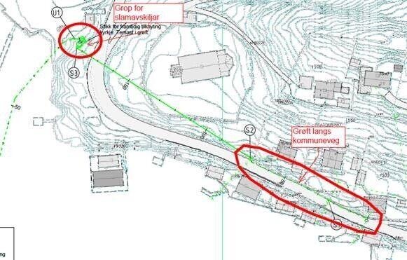 Kart over avløpssanering Eivindvik sone 6