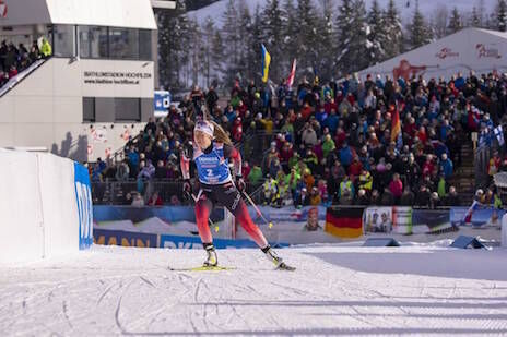 15.12.2019, Hochfilzen, Austria (AUT):Ingrid Landmark Tandrevold (NOR) - IBU world cup biathlon, pursuit women, Hochfilzen (AUT). www.nordicfocus.com. © Nico Manzoni/NordicFocus. Every downloaded picture is fee-liable.