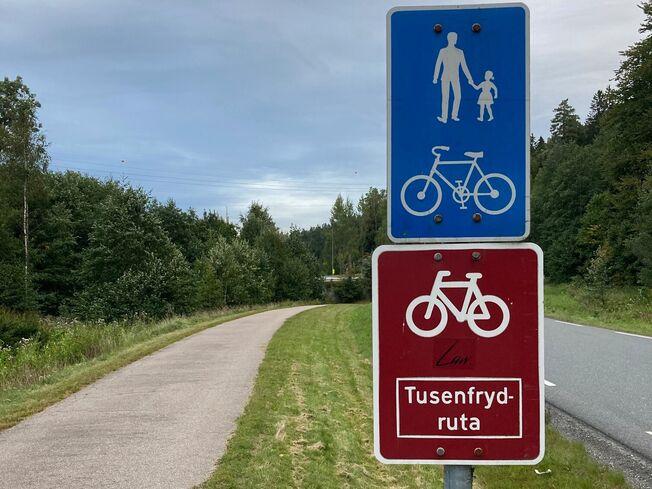 skilt Tusenfrydruta sykkelvei_liggende