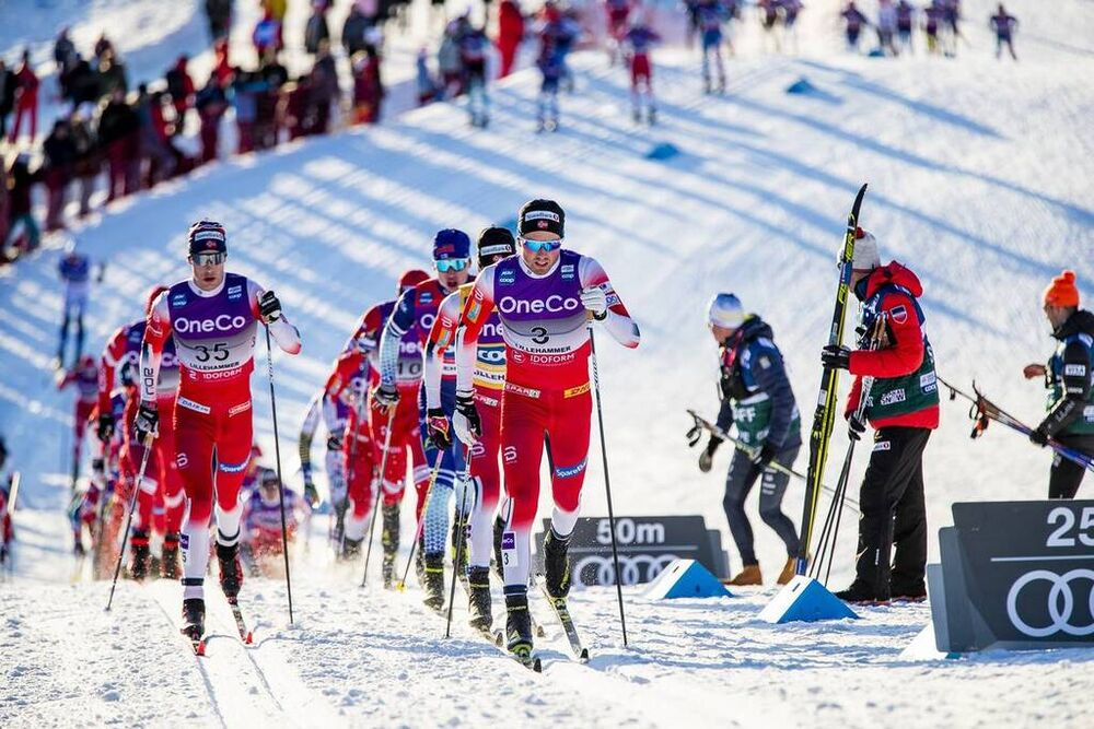 07.12.2019, Lillehammer, Norway (NOR):Mattis Stenshagen (NOR), Emil Iversen (NOR), (l-r)  - FIS world cup cross-country, skiathlon men, Lillehammer (NOR). www.nordicfocus.com. © Modica/NordicFocus. Every downloaded picture is fee-liable.