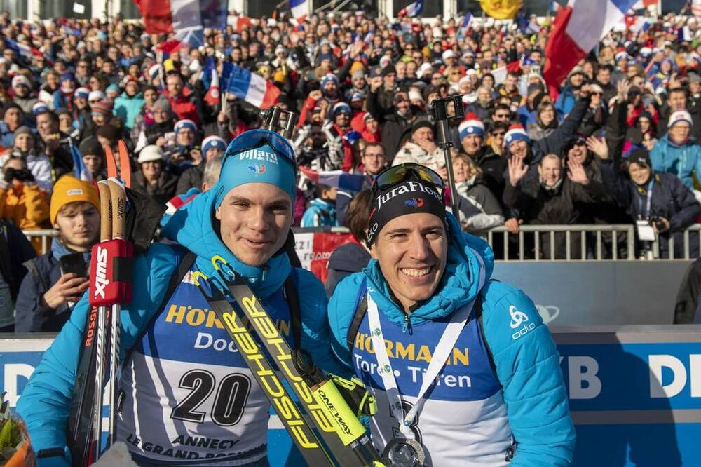 21.12.2019, Annecy-Le Grand Bornand, France (FRA):Emilien Jacquelin (FRA), Quentin Fillon Maillet (FRA), (l-r)  -  IBU world cup biathlon, pursuit men, Annecy-Le Grand Bornand (FRA). www.nordicfocus.com. © Thibaut/NordicFocus. Every downloaded picture i