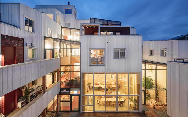 Vindmøllebakken bofellesskap i Stavanger er tegnet av Helen&Hard. Byggherre for prosjektet er Solon Eiendom. Foto: Sindre Ellingsen