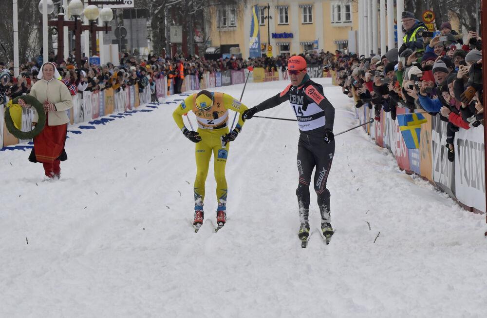 01.03.2020, Mora, Sweden (SWE): Stian Hoelgaard (NOR), Petter Eliassen (NOR), (l-r)- Visma Ski Classics and FIS Marathon Cup Vasaloppet, Mora (SWE). www.nordicfocus.com. © Schmidt/NordicFocus. Every downloaded picture is fee-liable.
