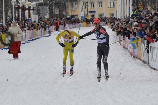 01.03.2020, Mora, Sweden (SWE): Stian Hoelgaard (NOR), Petter Eliassen (NOR), (l-r)- Visma Ski Classics and FIS Marathon Cup Vasaloppet, Mora (SWE). www.nordicfocus.com. © Schmidt/NordicFocus. Every downloaded picture is fee-liable.