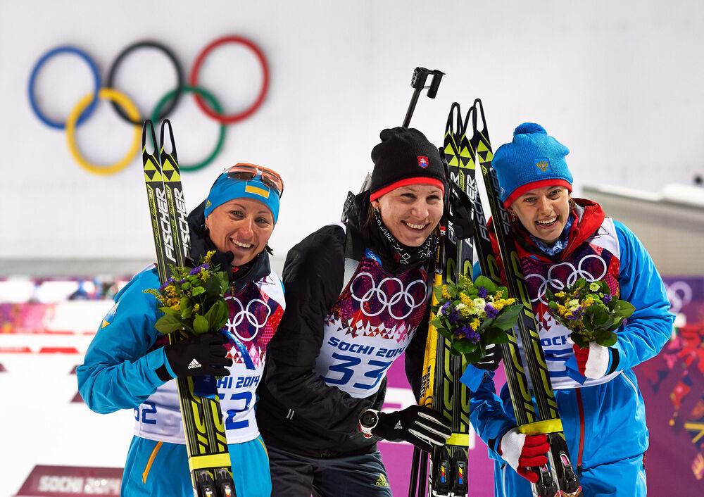 09.02.2014, Sochi, Russia (RUS): Vita Semerenko (UKR), Anastasiya Kuzmina (SVK), Olga Vilukhina (RUS), (l-r)- XXII. Olympic Winter Games Sochi 2014, biathlon, sprint women, Sochi (RUS). www.nordicfocus.com. © NordicFocus. Every downloaded picture is fee