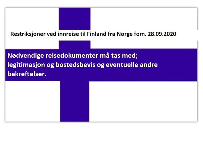Restriksjoner ved innreise til Finland fra Norge fom