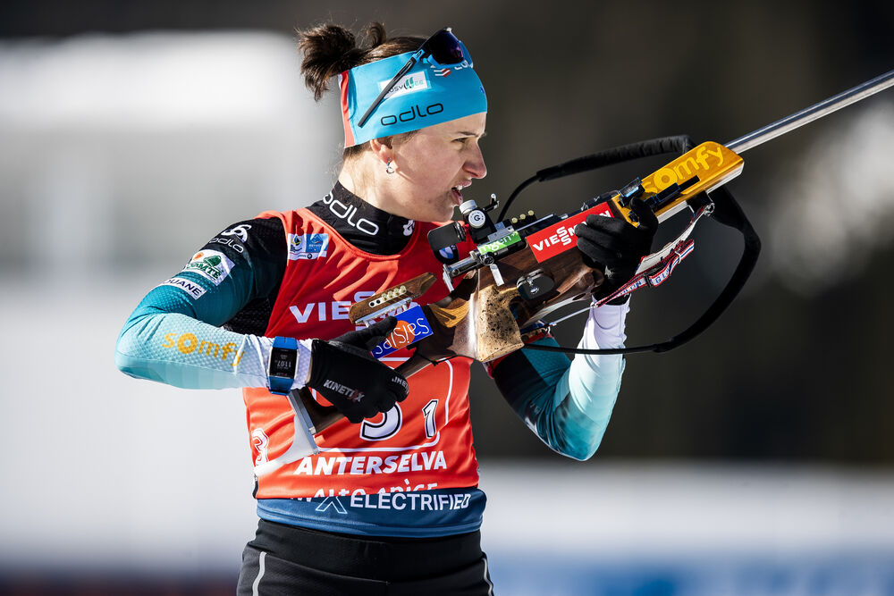 22.02.2020, Antholz, Italy (ITA):Julia Simon (FRA) - IBU World Championships Biathlon, relay women, Antholz (ITA). www.nordicfocus.com. © Modica/NordicFocus. Every downloaded picture is fee-liable.