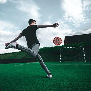 Fotball covid virus illustrasjon