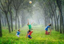 Barn som hopper opp i luften i glede i en stemningsfull skog