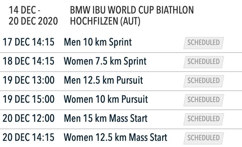 Calendrier 2021 Biathlon Biathlon   Le calendrier de la coupe du monde 2021   Sports Infos